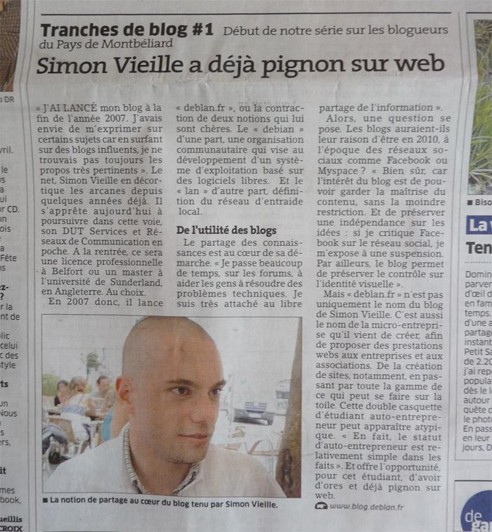 Tranche de blog #1 : Simon Vieille a déjà pignon sur web